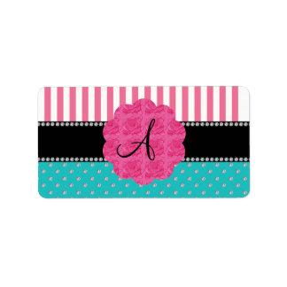Monogram pink stripes turquoise diamonds personalized address label
