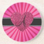 Monogram pink sunburst pink heart beverage coasters