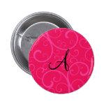 Monogram pink swirls button