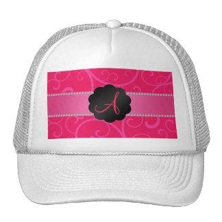 Monogram pink swirls trucker hat
