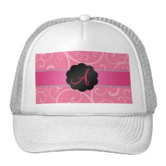 Monogram pink swirls mesh hat