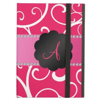 Monogram pink swirls iPad air cover