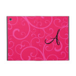 Monogram pink swirls iPad mini case