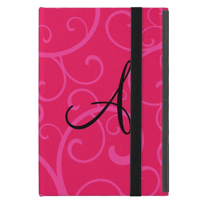 Monogram pink swirls iPad mini covers