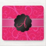 Monogram pink swirls mouse pads