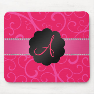 Monogram pink swirls mouse pad