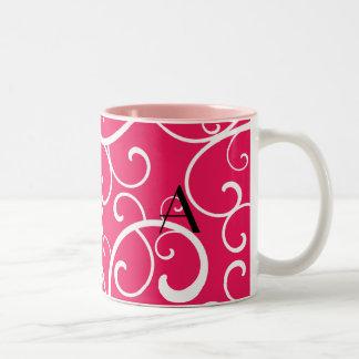 Monogram pink swirls coffee mugs