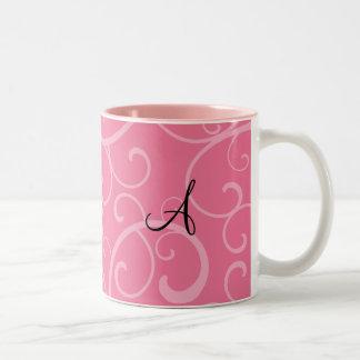 Monogram pink swirls mugs