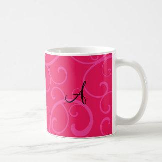 Monogram pink swirls mug