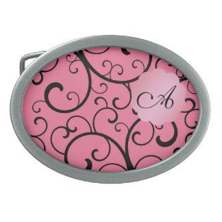 Monogram pink swirls oval belt buckle