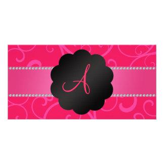 Monogram pink swirls picture card