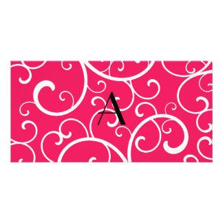 Monogram pink swirls custom photo card
