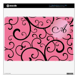 Monogram pink swirls MacBook decal