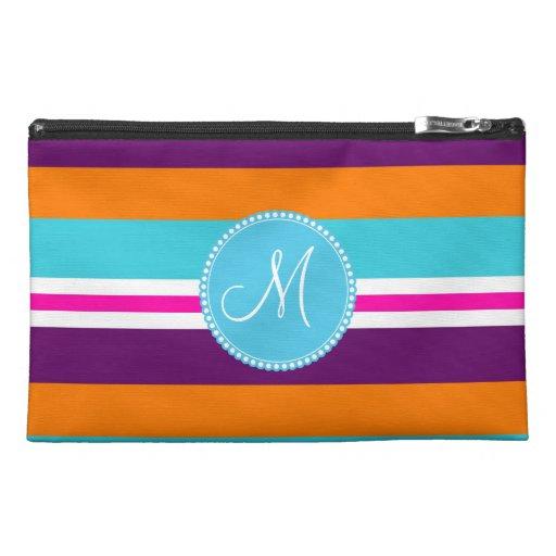 Monogram Pink Teal Orange Purple Striped Pattern Travel Accessories Bag