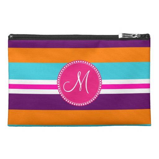 Monogram Pink Teal Orange Purple Striped Pattern Travel Accessories Bags