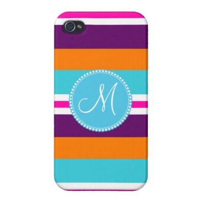Monogram Pink Teal Orange Purple Striped Pattern iPhone 4/4S Cases
