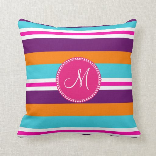 Monogram Pink Teal Orange Purple Striped Pattern Throw Pillows Zazzle