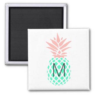 monogram pink teal pineapple magnet
