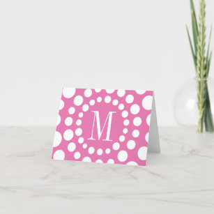 Monogram Pink Template Initial Blank Note Card