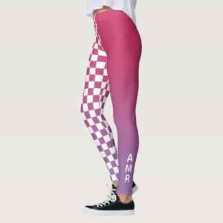 Monogram Pink to Purple Gradient Checkered Pattern Leggings