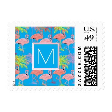 Beach Themed Monogram | Pink Tropical Flamingoes Postage
