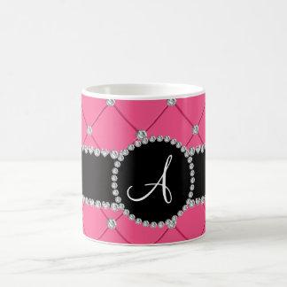 Monogram pink tuft diamonds coffee mug