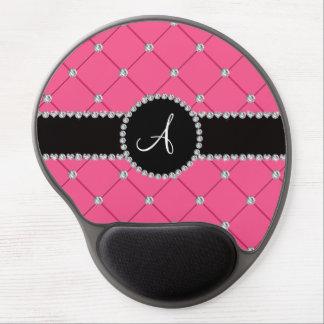 Monogram pink tuft diamonds gel mouse pad