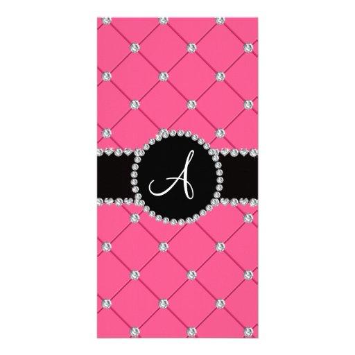 Monogram pink tuft diamonds picture card