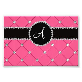 Monogram pink tuft diamonds photo print