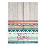 Monogram Pink Turquoise Aztec Pattern Wood 5x7 Paper Invitation Card