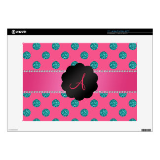 "Monogram Pink turquoise glitter polka dots Decals For 15"" Laptops"