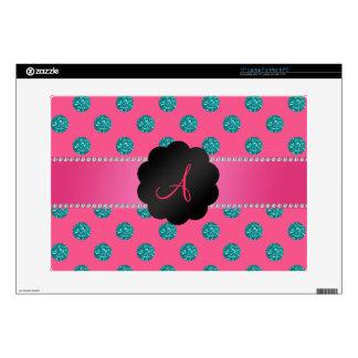 Monogram Pink turquoise glitter polka dots Skin For Laptop