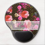 "Monogram Pink Vintage Flower Black Gold Polka Dots Gel Mouse Pad<br><div class=""desc"">Monogram Pink Vintage Flowers Black Gold Polka Dots. a girly, stylish and modern monogrammed pattern design featuring elegant, vintage pink and purple vintage floral pattern on a gold glitter and black polka dots pattern background. Get this cute pattern with you, perfect for the feminine girly girl who loves natures and...</div>"