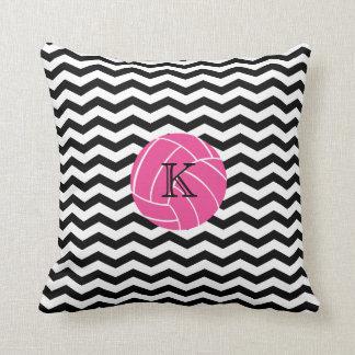 Monogram Pink Volleyball Chevron Print Pillow