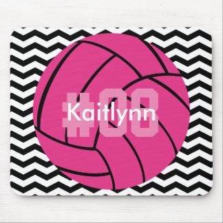 Monogram Pink Volleyball Chevron Zigzag Mouse Pad