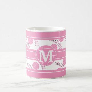 Monogram Pink Volleyball Coffee Mug