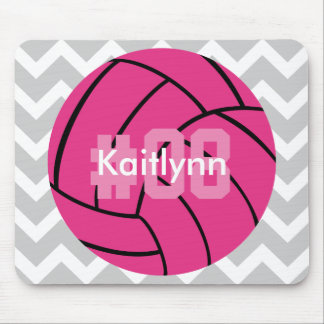 Monogram Pink Volleyball Gray Chevron Mouse Pad
