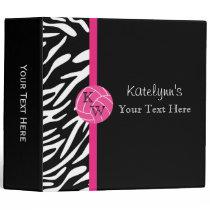 Monogram Pink Volleyball Zebra Print Binder