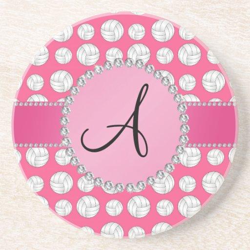 Monogram pink volleyballs pink circle beverage coaster