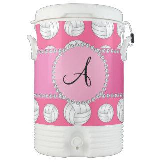 Monogram pink volleyballs pink circle igloo beverage dispenser