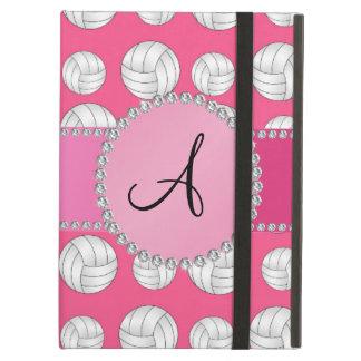 Monogram pink volleyballs pink circle iPad air covers