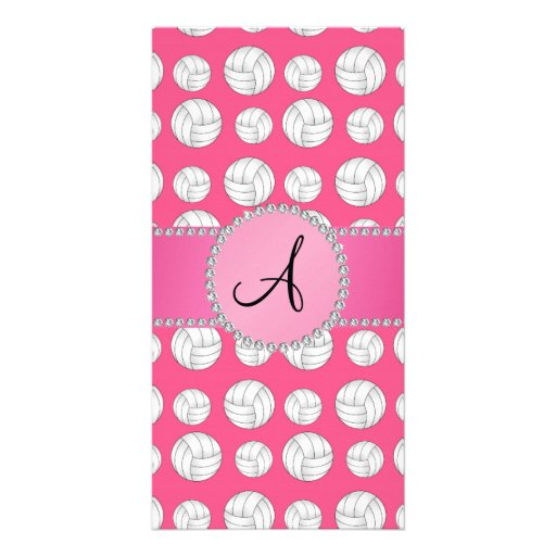 Monogram pink volleyballs pink circle personalized photo card
