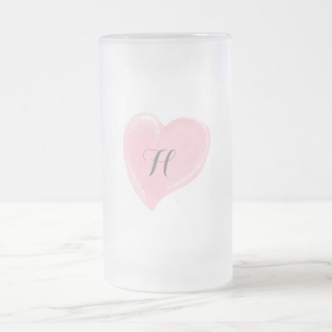 Monogram Pink Watercolor Heart Frosted Glass Beer Mug