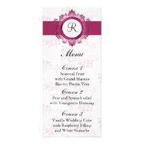 monogram pink wedding menu