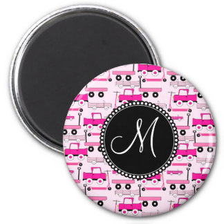 Monogram Pink Wheels Cars Trucks Scooters Wagons 2 Inch Round Magnet