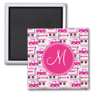 Monogram Pink Wheels Cars Trucks Scooters Wagons 2 Inch Square Magnet