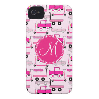 Monogram Pink Wheels Cars Trucks Scooters Wagons iPhone 4 Case