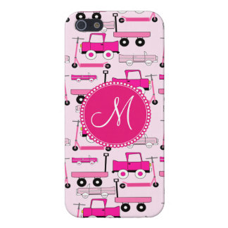 Monogram Pink Wheels Cars Trucks Scooters Wagons iPhone SE/5/5s Case