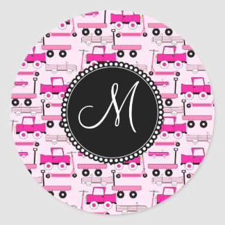 Monogram Pink Wheels Cars Trucks Scooters Wagons Round Stickers