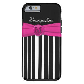 Monogram Pink White Black Striped iPhone 6 case